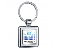 Square Two Sided Budget Chrome Plated Domed Keytags