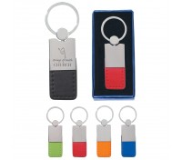 Metal/Simulated Leather Key Tag