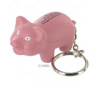 Pig Stress Ball Key Tag