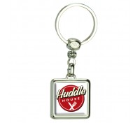 Square Two Sided Die Cast Metal Domed Keytags